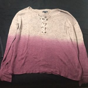 dip dye lace up thin sweater from american eagle!